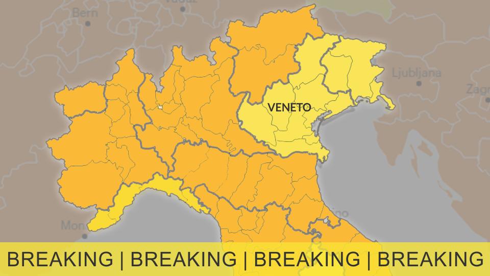Veneto provinsen får status som gul i rejsevejledningen!
